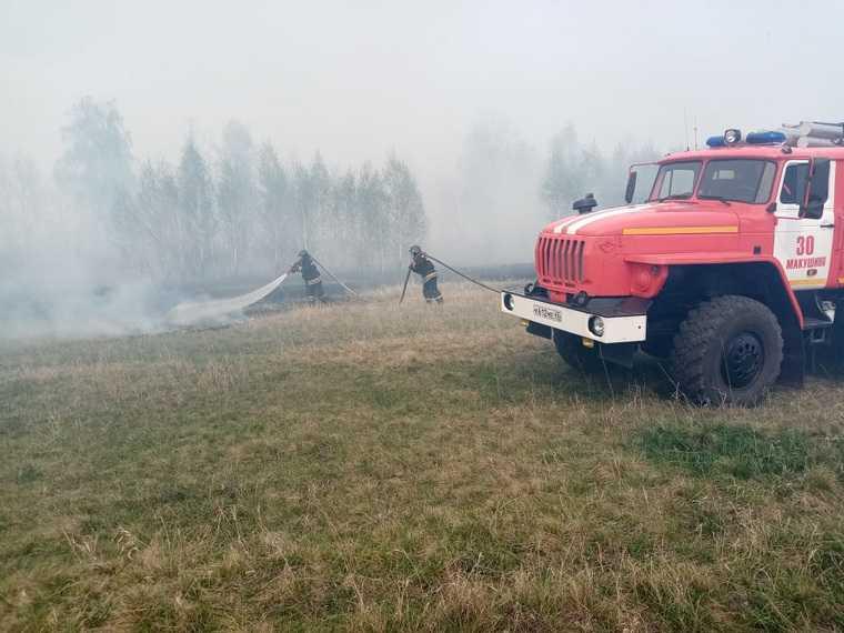 Пожар приближается к двум поселкам в Курганской области. Фото